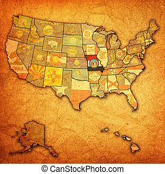 missouri on map of usa - missouri on old vintage map of usa...