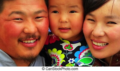 Portrait of Mongolian family