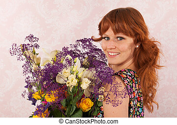 Woman with colorful flowers
