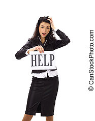 Stressed business woman imploring for help, holding a...
