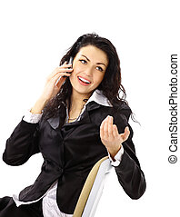 Business woman sitting on chair and talking on the phone