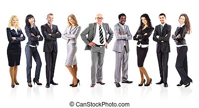 Leader and his business team formed of young businessmen standing over a white background