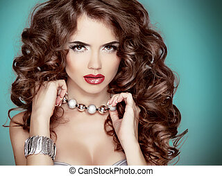 Long wavy Hair Glamour Fashion Woman Beauty Portrait...