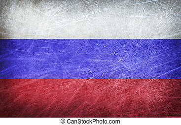 Flag of Russia on grunge postcard - The flag of Russia on a...