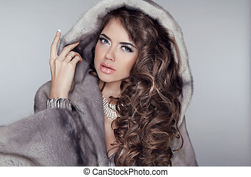 Long hair Luxury beautiful wearing in mink fur coat with...