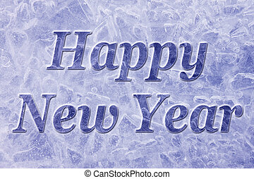 Happy New Year background - blue icy Happy New Year...