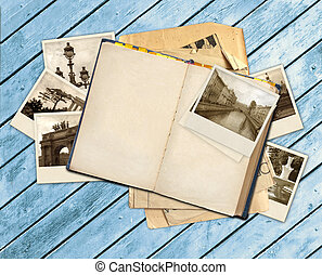 Old book and photos - Grunge background with old book and...