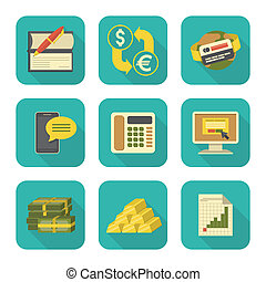 Modern Flat Financial Icons Set - Set of modern flat...