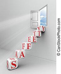 safety word blocks up to open door