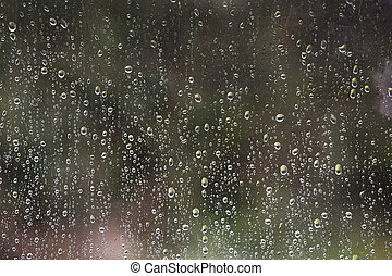 raindrops on a window with a green background