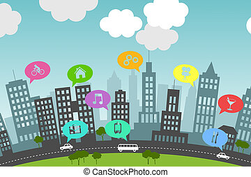 Social media in the city - Illustration presents the...