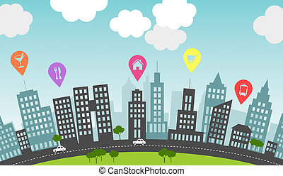 City pins. - Pins mark particular spots in the city. Pins...