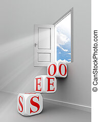seo red word blocks to open door out of room towards sky