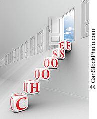 choose red word blocks up to open door towards sky
