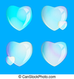Soap bubbles - heart - on the blue background