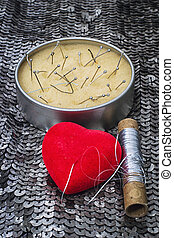 glyph of rupture of relations - symbolic heart and thread,as...