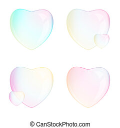 Soap bubbles - heart - on the white background