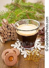 poco, café, navidad, Galletas
