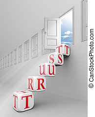 trust red word blocks up to open door out o f room