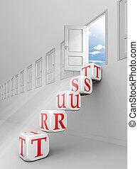 trust red word blocks up to open door