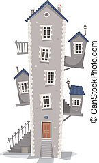 Old House Building - Illustration of a cartoon old high thin...