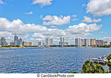 Skyline of the city of Aventura in Miami, Florida.