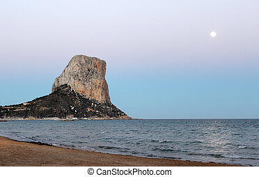 View over Calp beach and famous Natural Park of Peñón de I