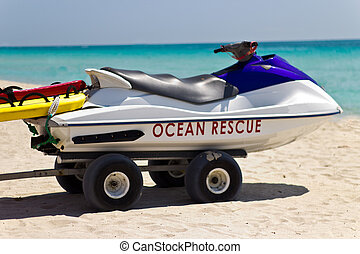 Lifeguard personal water craft rescue vehicle