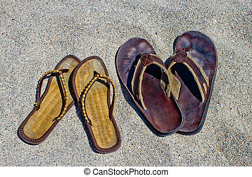 seu, hers, inverter, fracasso, sandálias, arenoso,...