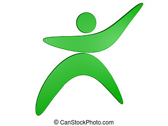 a green figure make something and stands for fitness