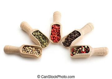 pepe, varietà, legno, palette, fondo, bianco