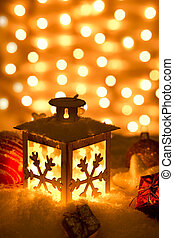 Christmas lantern with snowflakes,Closeup.