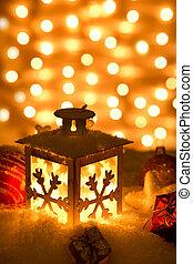 Christmas lantern with snowflakes,Closeup