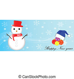 happy new year with snowman vector illustration