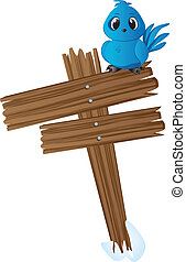 Blue bird on wood sign