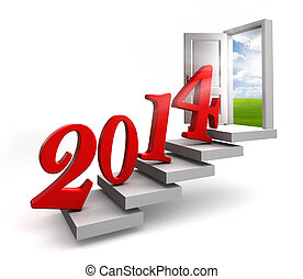new year 2014 entering door steps on white background