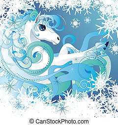 Winter horse - Beautiful winter white horse with decorative...