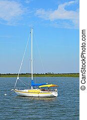 Moored Sailboat on the river