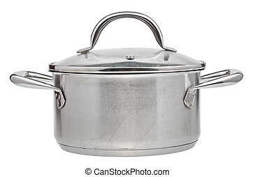 small stainless steel saucepan covered glass lid - small...