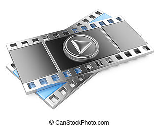 film strip with a play button. 3d illustration isolated on a...