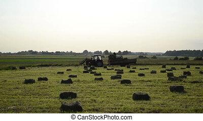 worker trailer hay