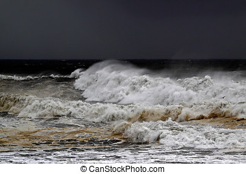 Stormy days - Big waves in a dark stormy day in the...
