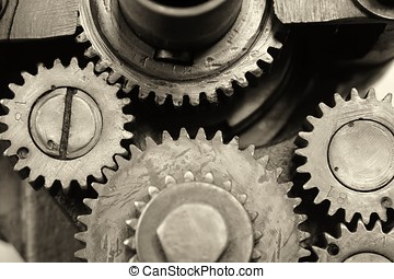 Gears of an old machine in the Technik Museum Magdeburg