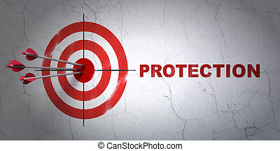 Privacy concept: target and Protection on wall background -...