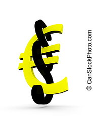 European law - a yellow euro with a black paragraph sign