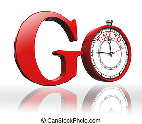 go red word and clock on white background