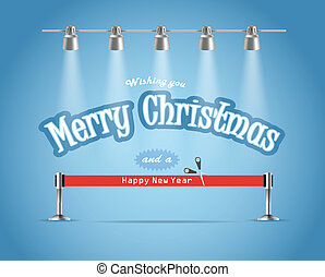 Photorealistic bright stage with projectors and red ribbon. Chtristmas greetings
