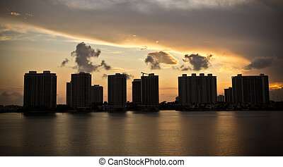 Sunset on condo buildings in Miami, Florida