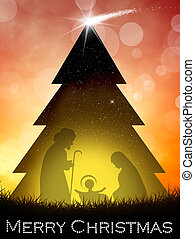 Nativity scene in the Christmas tree