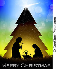 Christmas postcard - Nativity scene in the Christmas tree